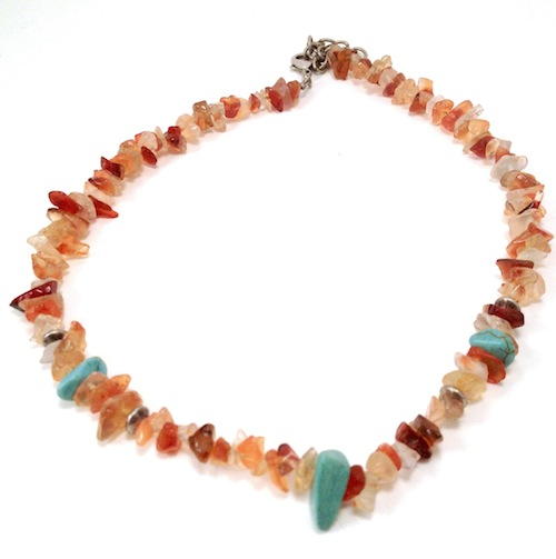 nugget chip stone simulated green necklace inexpensive millefiori